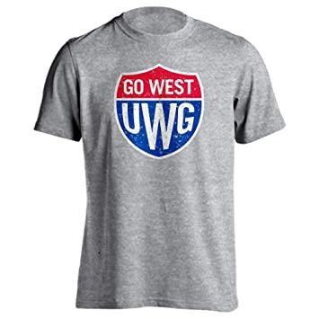 new products c9b77 059e7 University of West Georgia Wolves Go West Distressed Shield Short Sleeve  T-Shirt