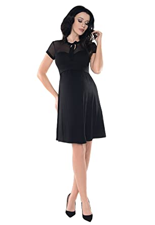 Purpless Maternity Short Sleeved A-Line Pregnancy Dress with Polka Dot Lace  Panel D004  Amazon.co.uk  Clothing 150958196