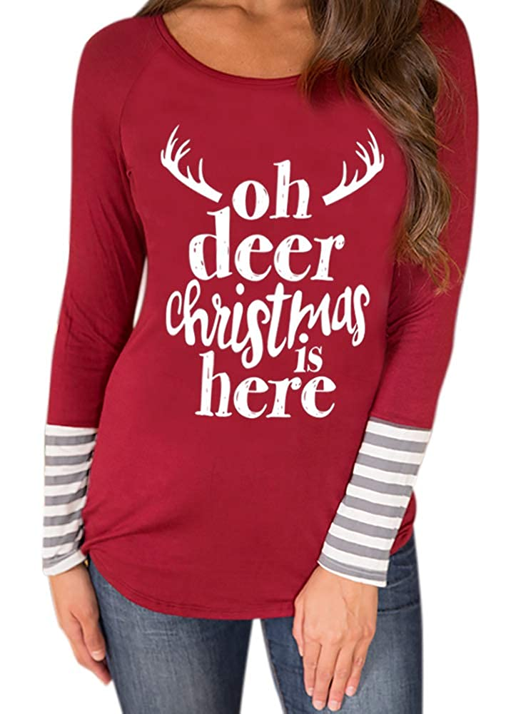 For G and PL Women's Christmas Striped Graphic Long Sleeve Shirts