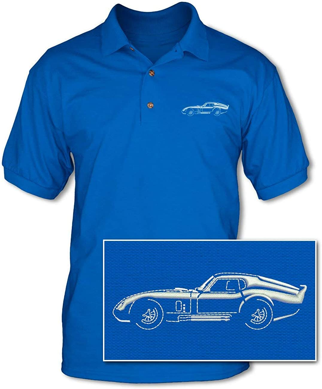 1964 Daytona Coupe Adult Pique Polo Shirt American Classic Car Side View