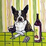 Boston Terrier at the Wine Bar dog art tile coaster gift
