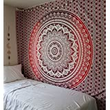 Traditional Jaipur Large Ombre Mandala Tapestry, Bohemian Bedding Queen, Hippie Tapestries, Indian Wall Hanging, Boho Picnic Throw Blanket, Gypsy Dorm Room Decor