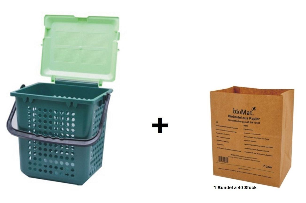 BIOMAT® AirBox® Family Bio-Abfalleimer + 1 Bündel á 40 Bio-Abfallbeutel 7 L aus Kraftpapier Naturabiomat GmbH