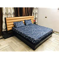Magnetic Shadow Polycotton Queen Size Elastic Fitted Bedsheets with 2 Pillow Covers (Multicolour)