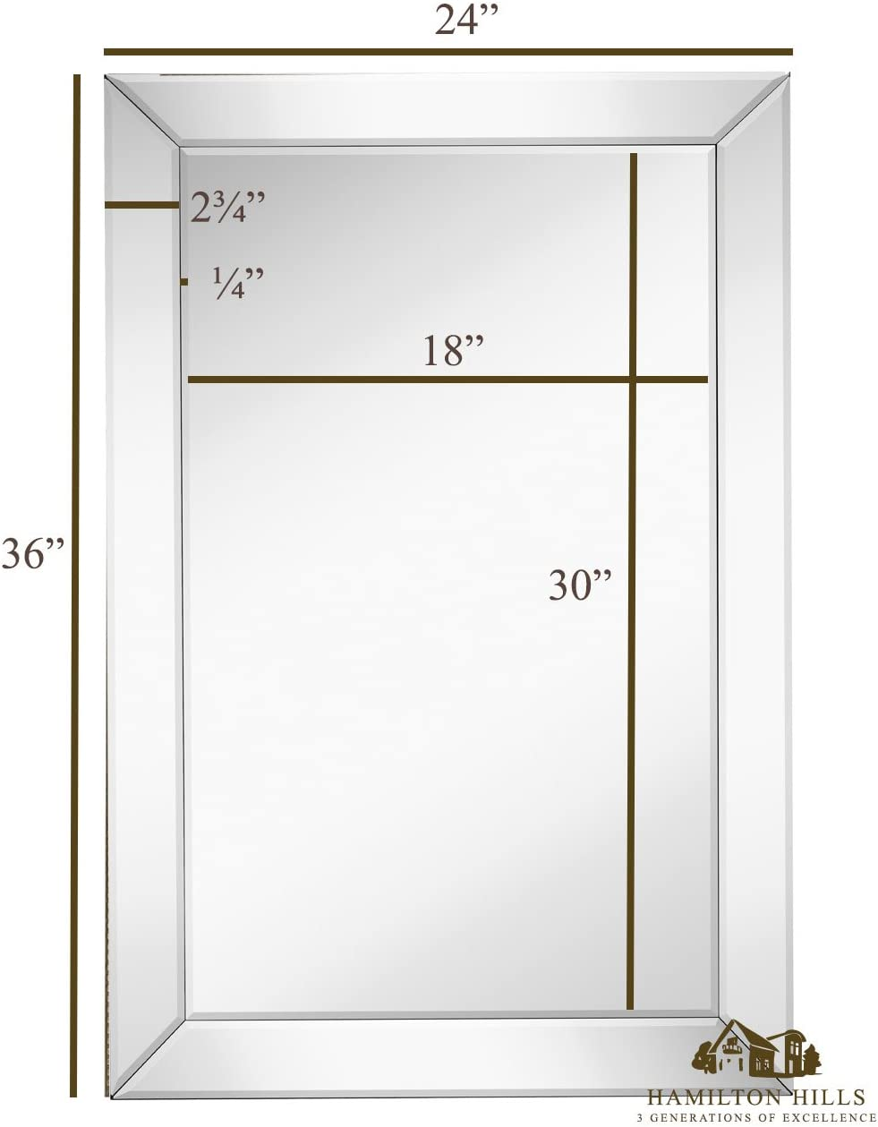 Large Framed Wall Mirror with Angled Beveled Mirror Frame Premium Silver Backed Glass Panel Vanity, Bedroom, or Bathroom Luxury Mirrored Rectangle Hangs Horizontal or Vertical 24 x 36