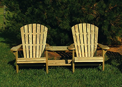 Pressure Treated Pine Unfinished Fan Back Adirondack Settee with Table Amish Made USA Fan Back Settee