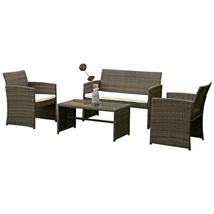 Amazon.com: Cypress Shop Outdoor Patio Furniture Set Rattan ...