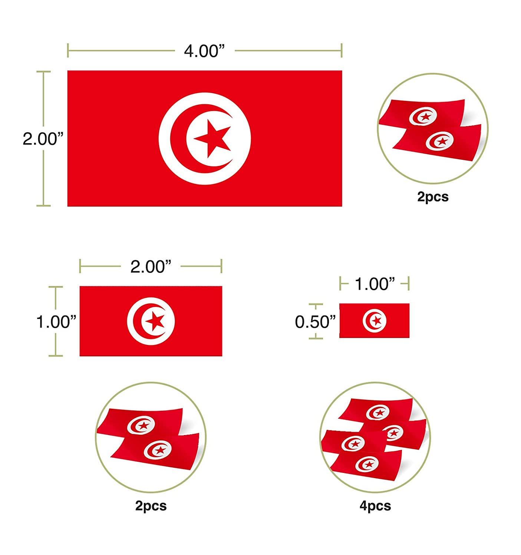 Desert Cactus Tunisia Country Flag Sticker Decal Variety Size Pack 8 Total Pieces Kids Logo Scrapbook Car Vinyl Window Bumper Laptop V