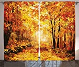 Ambesonne Country Decor Curtains 2 Panel Set by, Pale Shaded Autumn in the Forest Pastoral Calm Simple Life Nature Paint Away Art Theme, Living Room Bedroom Decor, 108 W X 84 L Inches, Orange Brown