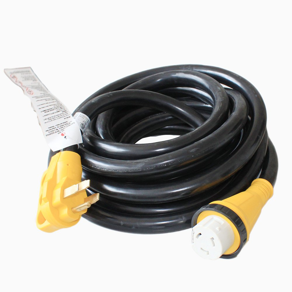 X-Haibei RV Trailer Extension Power Cord With Twist Lock 25ft Foot 50A Male to 50A Female Finger Grip Handle