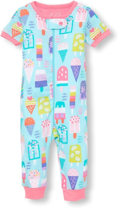 The Childrens Place Baby Girls Long Sleeve 2 Pack Footed Stretchie