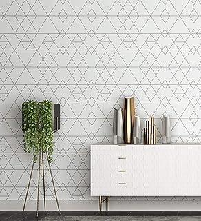 Telihone Papel pintado geométrico Raya Decoración de la pared Sala de estar, Dormitorio, Restaurante, Etiqueta de la pared de la tienda de ropa, Raya, 0.53 * 10 M: Amazon.es: Bricolaje y herramientas