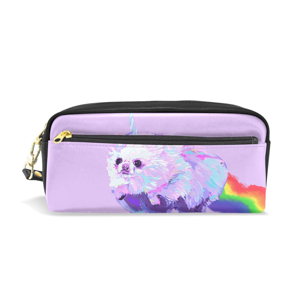 Sunlome Students PU Leather Pomeranian Dog Fantasy Unicorn Rainbow Stationary Pencil Case Pen Bag Pouch Makeup Cosmetic Bag
