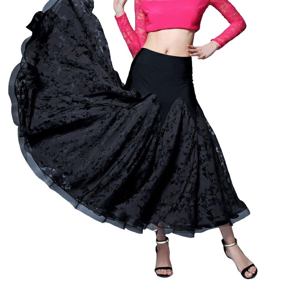 新しい [FERE8890] スカート レディース モダンダンス用スカート プリント フラワー 切り替え B075419Q6G ブラック ダンスウェア スカート 豪華 舞踏会 演出会 B075419Q6G X-Large|ブラック ブラック X-Large, ウェルコムデザイン:7efd17ef --- a0267596.xsph.ru