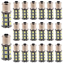 EverBright 20-Pack Super White 460Lums 1156 BA15S 1141 1073 1095 1003 7506 Base 24SMD 5050 LED Replacement for Car Interior RV Camper Tail Brake Turn Backup Lamp Parking Side Marker Lights DC 12V