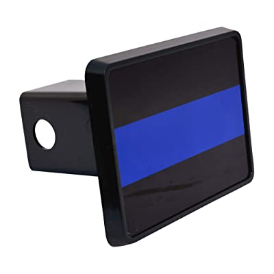 Black & Blue Thin Blue Line Flag Trailer Hitch Cover Plug US Blue Lives Matter Police Officer Law Enforcement: Automotive