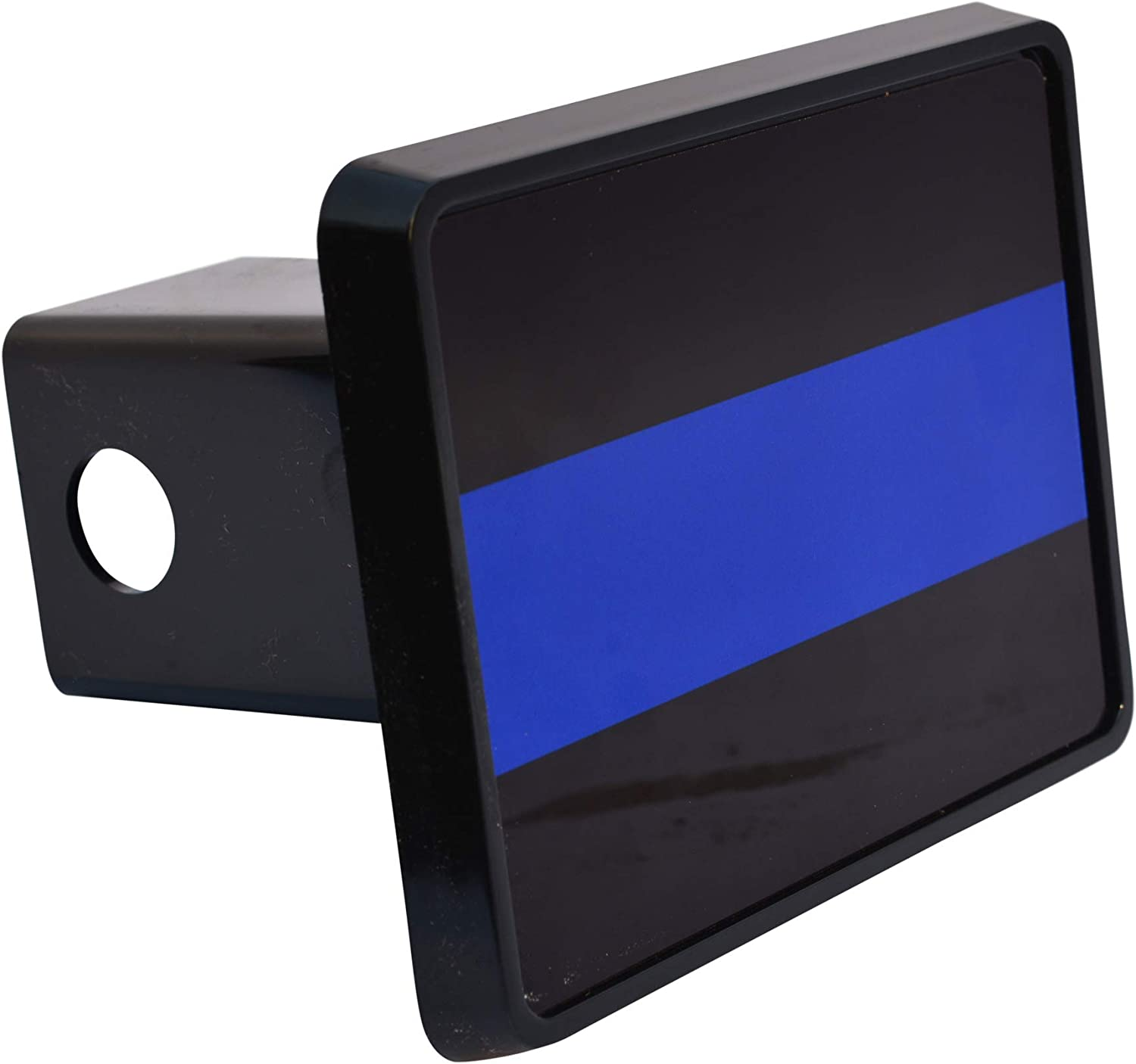 Black & Blue Thin Blue Line Flag Trailer Hitch Cover Plug US Blue Lives Matter Police Officer Law Enforcement