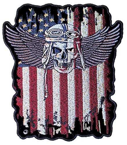 (Leather Supreme Patriotic American Flag Fighter Pilot Skull with Wings Biker Patch-Red-Large)