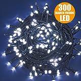 Catena Luci a LED Luminosa Natalizia 28,5 Metri 300 LED Bianco Freddo con giochi di luce, cavo verde, luci di Natale, luci Bianco Freddo, luci per l'albero di Natale, Con Controller per 8 Giochi di Luce e Memoria, Antipioggia Per Uso Interno ed Esterno