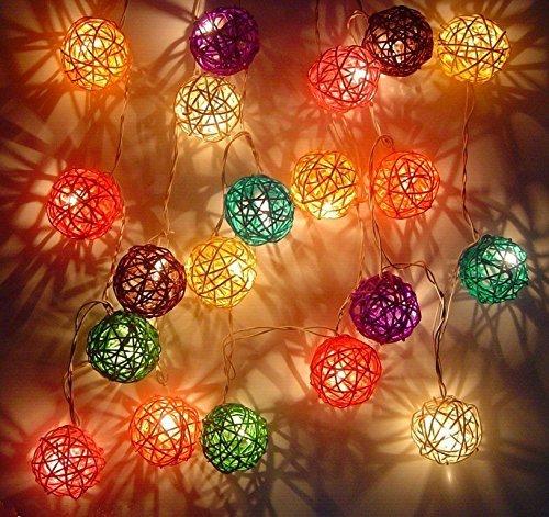 Colorful Rattan Ball Fairy Lights
