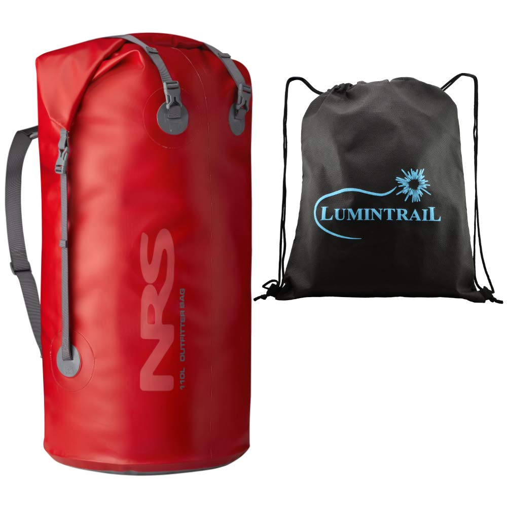 NRS Outfitter Dry Bag Waterproof Pack with Rolltop Closure and Padded Shoulder Sling Bundle Includes a Lumintrail Drawstring Bag by NRS