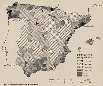Map Of Spain 1930.Amazon Com Spain Population Density In 1930 Ww2 Royal Navy