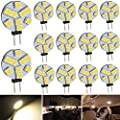 Ei-Home 14-Pack G4 Warm White 3000K 5050 9-LED Halogen Xenon Replacement Light Bulb, 2.5W, 25W Equivalent, LED Light Bulbs for Under-counter Lights, Puck Lights,RV Lighting (No polarity)