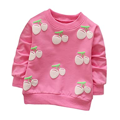 4a8fa2a0 Toddler Kids Girls Boys Long Sleeve Cherry Printing Cute Casual O-Neck  Pullover Sweatshirt Soft