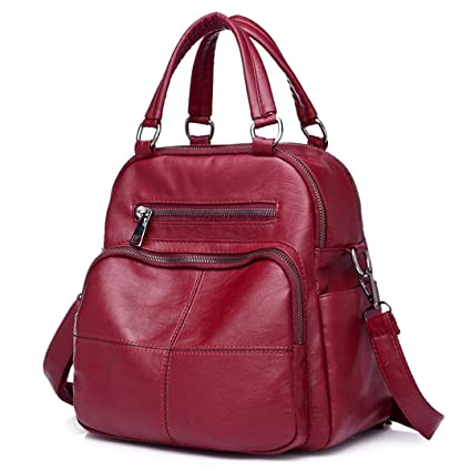 Amazon.com: Women Multifunction Leather Backpacks For Girls Backpack Schoolbag Ladies Vintage Back Pack School Bags: Clothing