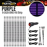 neon bars - Partsam 14 x 3 Mode 3528 LED Chips Neon Light Strips Bar Underglow Underbody Kit Purple