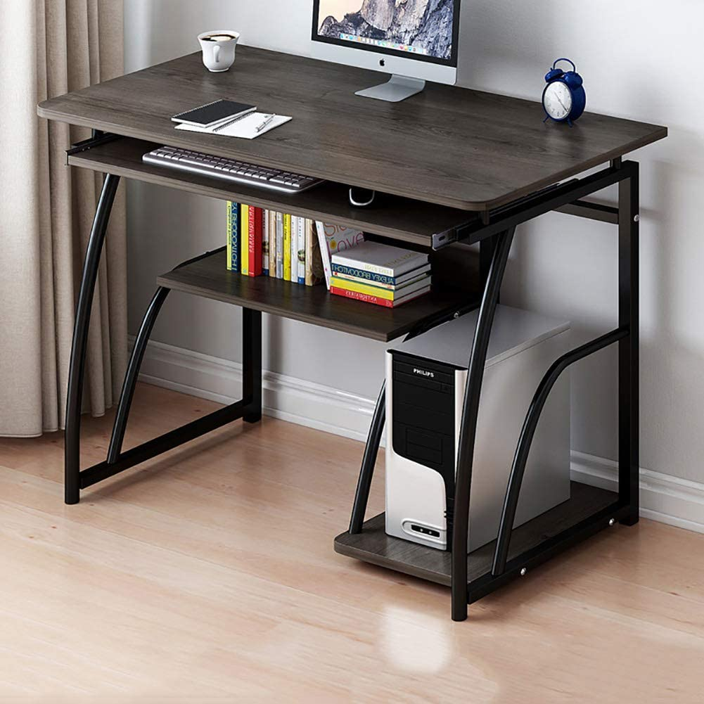 Computer Desk with Pullout Keyboard Tray,Compact Home Office Deskwith Storage Shelves,Pc Laptop Table Workstation for Small Place