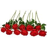 Justoyou - Bouquet de roses artificielles - En soie - Pour la maison, le bureau, pour la décoration d'un mariage