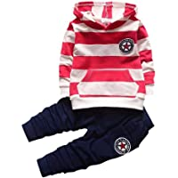 Shiningup Conjunto de chándal para bebé con capucha y pantalones de manga larga para niños pequeños