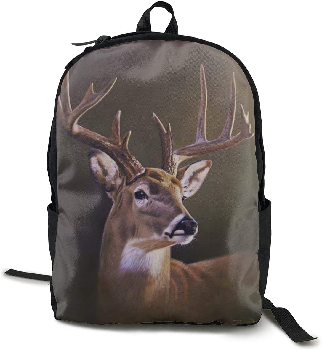 Women Men Fashion Large Capacity Anti Thief Travel Business Computer Backpack, Durable Waterproof College School Students Bookbag - Nature Deer Paintings