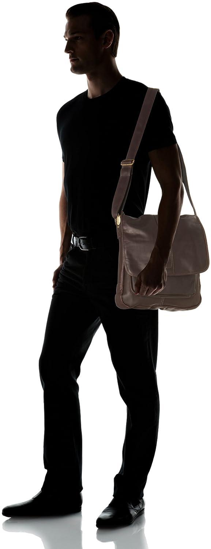 One Size Laptop Messenger with Front Gusset Pocket Black David King /& Co