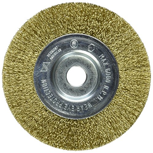 Brass Wheel Brush - Vermont American 16798 4-Inch Fine Brass Wire Wheel Brush with 1/4-Inch Hex Shank for Drill