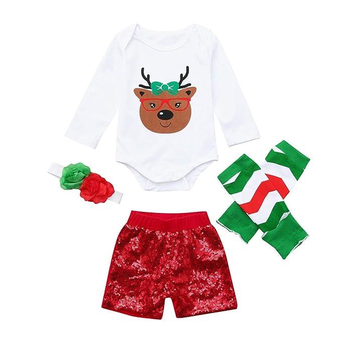 69dd5ad7e1264d Amazon.com: SUNBIBE Infant Baby Boys Girls Cartoon Deer Romper Sequins  Shorts Leggings Headband Christmas Outfits 4PCS Set: Clothing