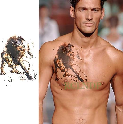 Etiqueta engomada del Tatuaje Temporal Impermeable león Falso ...