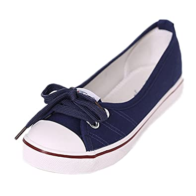 78506bc327f9 Maybest Women s Lace-Up Canvas Casual Loafer Slip On Flats Shoes Blue 4 B(