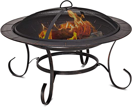 Large Round Fire Pit Folding Patio Garden Bowl Outdoor Patio Heater Log Burner