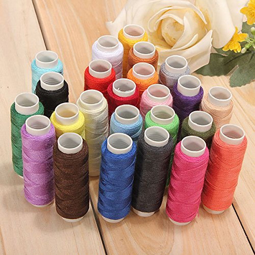 Sewing Machine Thread - 24 Color Cotton Sewing Thread Spools Sewing Machine Accessories - Hand Sewing Thread - Sewing Thread Set - Red Rose Dupioni Silk