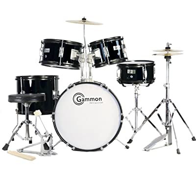 Gammon Percussion Complete 5-Piece Black Junior Drum Set