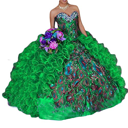 BanZhang Women's Quinceanera Dresses 2019 Embroidery Sweet 16 Organza Ball Gown Royal Blue B211 A Green 8