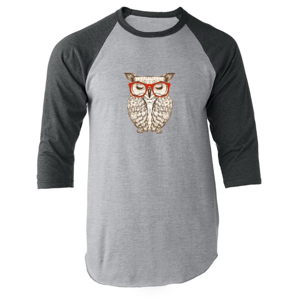 Hipster Owl in Red Glasses Gray 2XL Raglan Baseball Tee