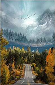Nature Scenery Canvas Painting Art Mountain Forest Road Landscape and Poster for Bedroom Home Decor 40x70cm(15.7''x27.5'') Framed