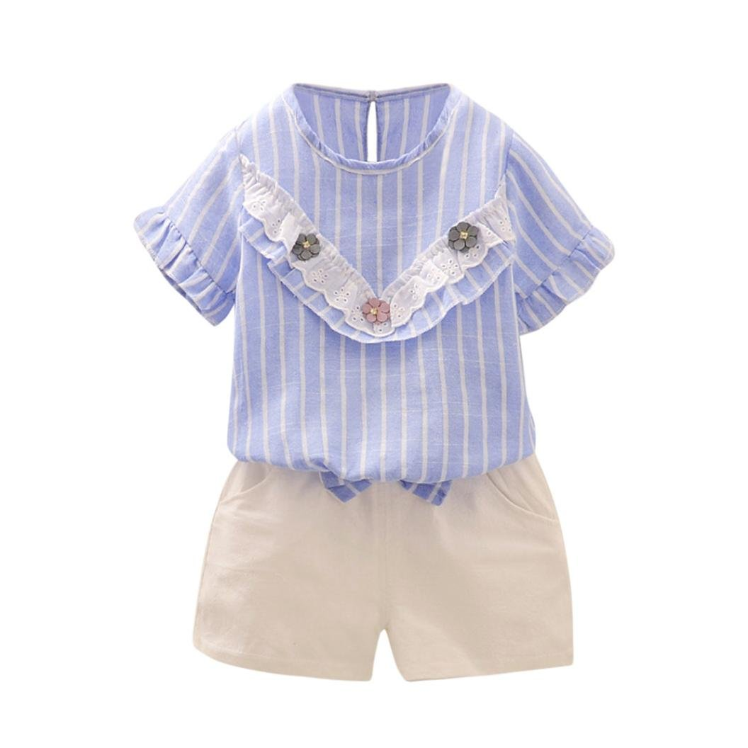 BYSTE Bambina fiori Manica corta Estate Camicie Pullover Felpa camicia T-shirt Tops + Ragazze Bowknot pantaloni corti pantaloncini 2pcs