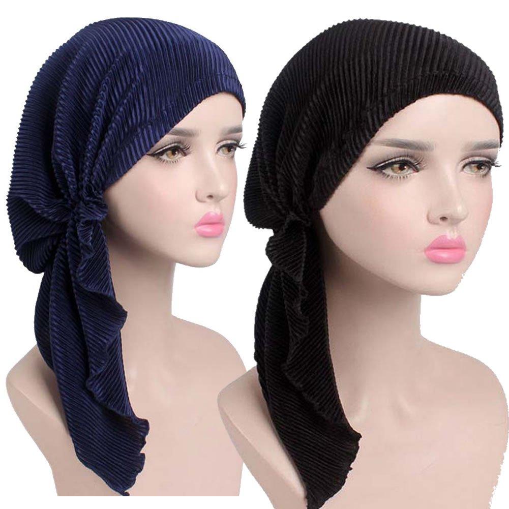 MuYiTai Womens Chemo Caps Turban Headwear for Cancer Pack of 2 Black, Navy