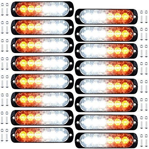 16pcs 6-LED White Amber Surface Mount Emergency Warning Beacon Flash Caution Construction Strobe Light Bar 16 Flashing for Car SUV Pickup Truck Trailer Van RV ()