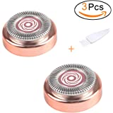 Hair Remover Replacement Heads with Head Cleansing Brush for Electric or Battery Flawless Hair Remover,Good Finishing and Well Touch on the Upper Lip,Chin,Cheeks and Sideburns(Rose Gold)