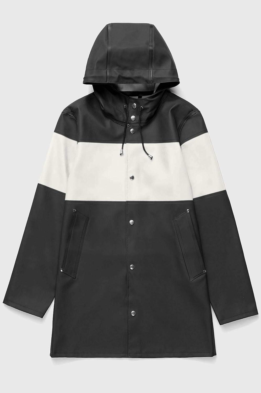 (ストゥッテルハイム) STUTTERHEIM Stockholmunisex Waterproof hooded Raincoat STRIPE ストックホルムユニセックス防水レインコートストライプ(並行輸入品) B07GTVTPKL ブラック/ホワイト/ブラック S